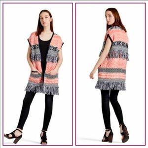 {Lucky Brand} Fringe Poncho Sleeveless Sweater M
